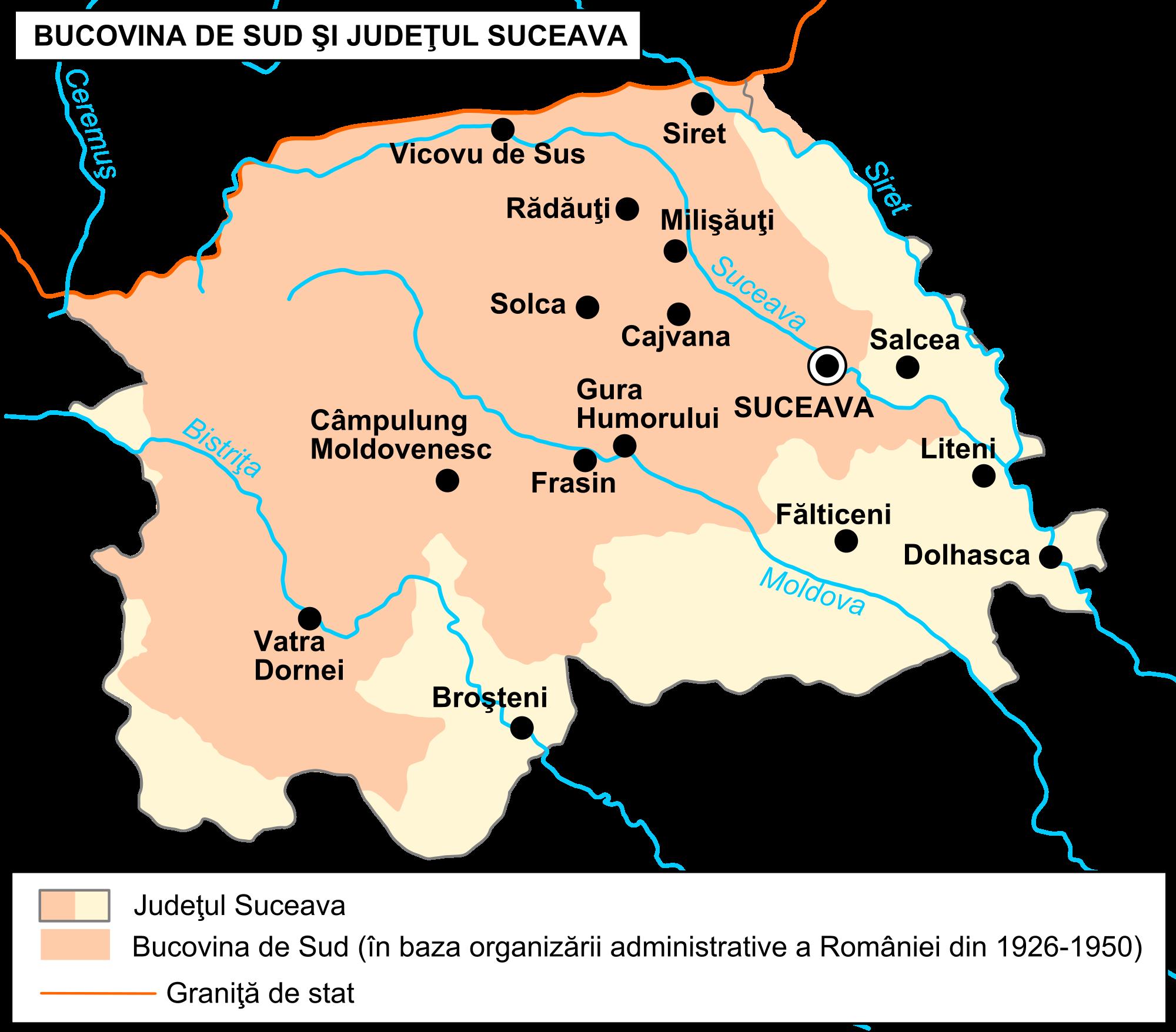 Orasele si arealele turistice din Bucovina